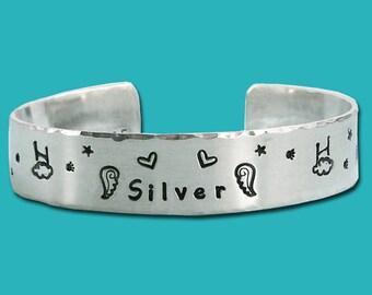 Rainbow Bridge - Agility Remembrance Bracelet - Personalized  - Sterling Silver Cuff - One Half Inch - Agility in Heaven - Memorial Bracelet