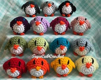 Crochet Mini Multicolored, Black, White and Orange Rainbow Penguin Bird Aquarium Zoo Animal Cute Amigurumi Plush Made To Order