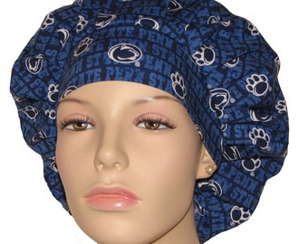 Scrub Hats For Women-Penn State University Nittany Lions Striped Fabric-Bouffant Scrub Hat-ScrubHeads-Surgical Scrub Hats-PSU Scrub Hat