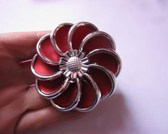 silver and burgundy flower bead 62 mm in diameter