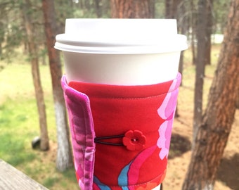 Reusable Coffee Sleeve - Pink Flowers