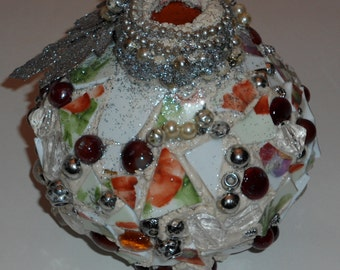 Awesome Mosaic Jardeniere,Beaded,Glittered,Stones and China Shards,Magical Pique Assiette,Funky