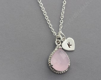 Silver Pink Opal Necklace, Personalized Bridesmaid Necklace Pink Opal and Initial, Custom Necklace, Bridal Party, Bridesmaid Jewelry