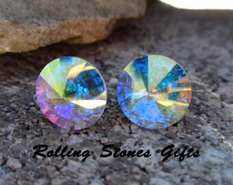 Aurore Boreale 10.5mm Swarovski Rivoli Rhinestone Stud Earrings-Aurore Boreale Crystal Studs-Medium AB Crystal Rivoli Stud Earrings-