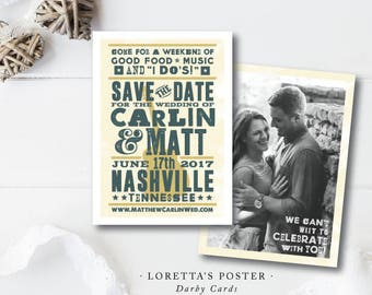 Loretta's Poster Printed Save the Dates | Wedding Save the Dates | Floral Invitation | Printed or Printable by Darby Cards Collective