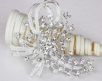 "Rhinestone Brooch Component 2.8"" Crystal Flower Bridal Hair Comb Shoe Clip Pin Wedding Cake Decoration Invitation BR062"