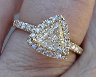 1 Carat Trillion Cut Halo Diamond Solitaire Ring - 14k Triangle Engagement Ring