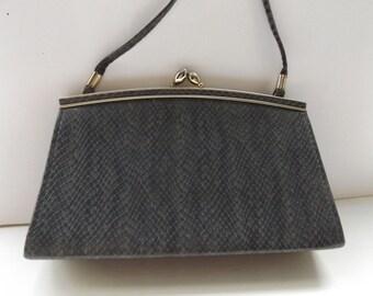 vintage 60s evening bag shoulder bag mock snakeskin