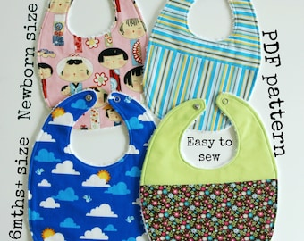 Sewing baby pattern, Baby pattern, 2 sizes - 4 bibs to make, Easy sewing pattern, PDF pattern - Essential Baby Bib pattern (S115)