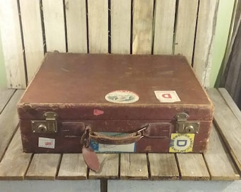 Worn Out Leather Suitcase, Antique Leather Luggage,