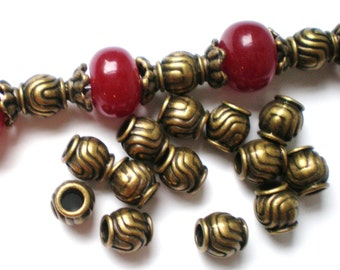 30 bronze beads exotic metal  spacer jewelry supply (Z4)