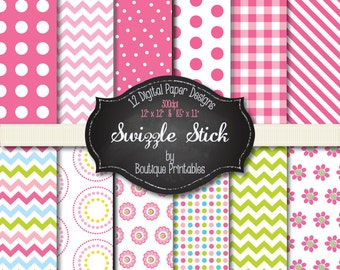 Swizzle Stick digital papers - 12x12 and 8.5x11 300 dpi