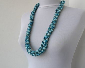 Knitted jewelry - Knit Necklace - Braided Necklace - in ivory, blue, gray  E234