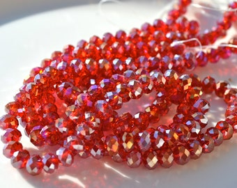 Crimson Red AB &mm Crystal Rondelle Beads  20