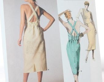 Vogue 1676 Calvin Klein Misses Dress-- Vogue American Designer -- Size 8-- Halter Type, Semi Fitted, Belt -- 1986