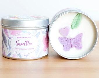 Sweet Pea natürliche Soja Wachskerze - Standard-Größe (8oz)