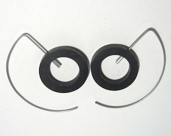 Titanium half hoops with ebony circles Hypoallergenic hoop earrings Ebony earrings