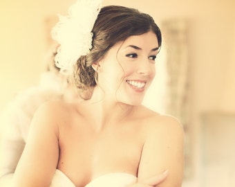 Hollywood Glitz  2-  Bridal Fascinator, Rhinestone Hair clip, Feather Fascinator, Bridal Veil, Wedding Veil, Hair Clip