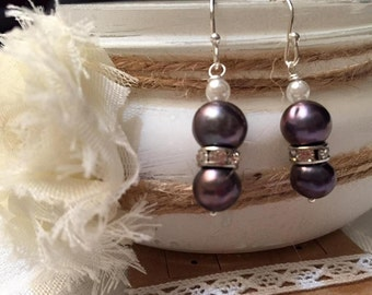 FREE GIFT!!! Pearl Dangle Earrings, Cultured Black Freshwater Pearls, Gift for her, mother daughter, bestie