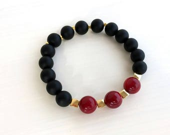 Black Matte Onyx Bracelet, Coral Bracelet, Gold Bracelet, Elastic Bracelet, Gemstone Bracelet, Birthday Gift, Red Beads Jewelry, Women Gift