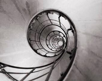 Paris Photography - Black and White Sepia Spiral Staircase Arc de Triomphe, Architectural Wall Decor, Fine Art Photo, Graphic Paris Print