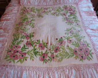 Antique French hand painted silk piano shawl piano scarf silk wrap 1900s Victorian romantic clothing w roses floral paint and satin fringes