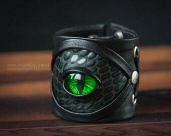 leather bracelet with green eye. Woman Bracelet. Dragon bracelet. Dragon eye. Fantasy jewelry.