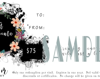Sue M Photography 75 Dollar Gift Certificate
