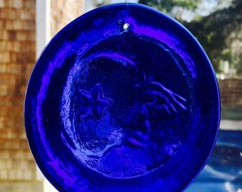 Vintage Handmade OBX Art Outer Banks Nags Head NC Cobalt Blue Man in the Moon Sun Glass Ornament Catcher