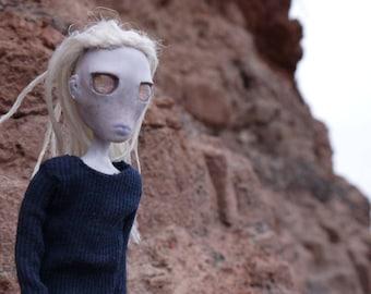 Trevor - modern fantasy doll with dreadlocks, collectible doll, ooak art doll, posable doll of fantasy creature, urban fantasy decor