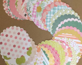 """50 - 3 1/2"""" Scalloped Circle Die Cuts for Paper Crafts set S15"""
