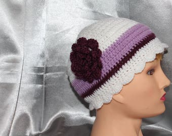 hand crocheted hat, woman, white and purple, romantic