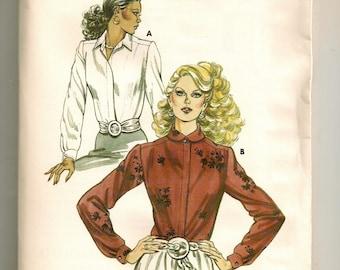 "A Long Sleeve, Hidden Front Button, Straight Hemline Blouse Pattern for Women: Uncut - Sizes 14-16-18-20, Bust 38-1/2"" - 43"" • Kwik Sew 1189"