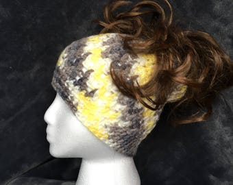 Handmade Verigated Messy Bun/Ponytail Hat