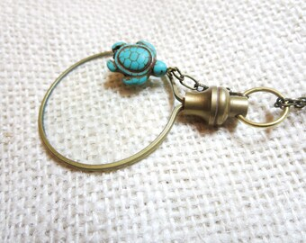 """Magnifier Necklace, turtle Necklace -2"""" magnifying glass  pendant , Fun and Handy. Trendy and Chic Jewelry"""