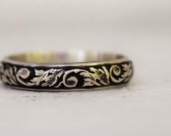 Bande de mariage Floral en argent sterling, fabriqués à la main ferronnerie, Stacking Ring, bande Simple, Bohème, motif de volutes, cadeau de fête des mères