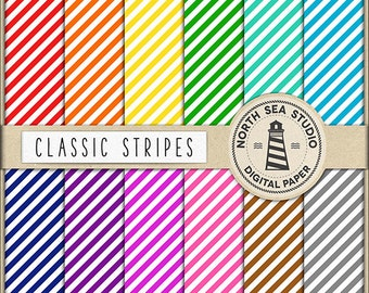Stripes Digital Paper Pack | Scrapbook Paper | Printable Backgrounds | 12 JPG, 300dpi Files | BUY5FOR8