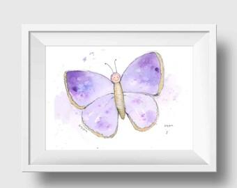 Purple Butterfly Baby Wall Art Print Childrens Butterfly Wall Art Butterfly Print Kids Room Butterfly Print
