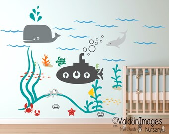 Submarine, ocean nursery decal, nautical nursery decor, underwater wall decal, nautical baby gift, nursery decor boy, sea nursery decor