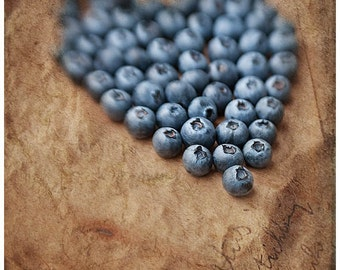 Rustic Kitchen Decor, Food Photography, Blueberries Photography, Kitchen Wall Decor, Food Art Print, Brown Blue Kitchen Wall Decor