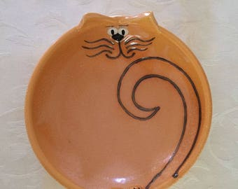 Cat Face Bowl Sunny Orange Cartoon - Handmade NC pottery