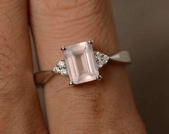 Pink Quartz Ring Sterling Silver Promise Ring Pink Gemstone
