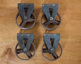 Vintage cast iron wheels set of 4 for furniture making / coffee tables rustic antique castor castors industrial
