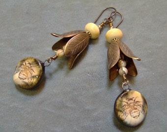 Ceramic Porclain Organic Honey Bee Earrings-Lampwork-Artisan Earrings-Artisan Lampwork-Vintaj Brass Earrings-SRAJD-Artisan Ceramic Beads