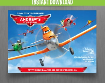 Disney Planes Birthday Invitation - Instant Download and Edit with Adobe Reader