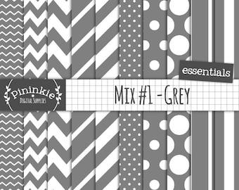 Grey Digital Paper, Basic Grey Scrapbooking Paper, Basic Grey Paper, Instant Download, Commercial Use