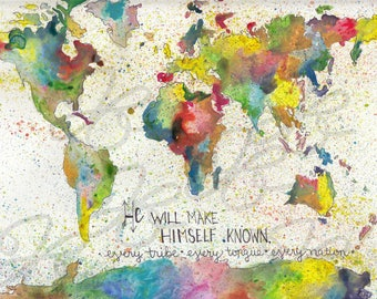 Instant,Download,5x7 Wildfire, world changer, watercolor world map, map,  Every tribe, every nation, every tongue, Revelation 7 9