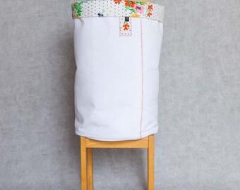 XL Fabric Basket, Toy Storage, Toy Bucket, Storage Basket, Storage Bin, Nursery Storage, Project Bucket // Vintage Flowers // White Canvas