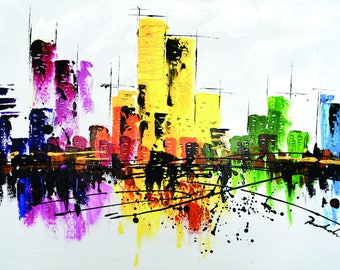 METRO BRIGHTS. Hand Painted Wall Art. City Scape  Oil/Arcylic Painting on Canvas