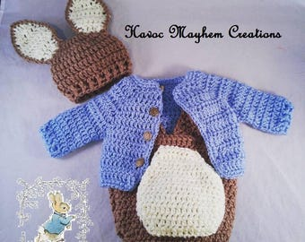 Crochet Baby Peter Rabbit Outfit-Photo Props-Costume
